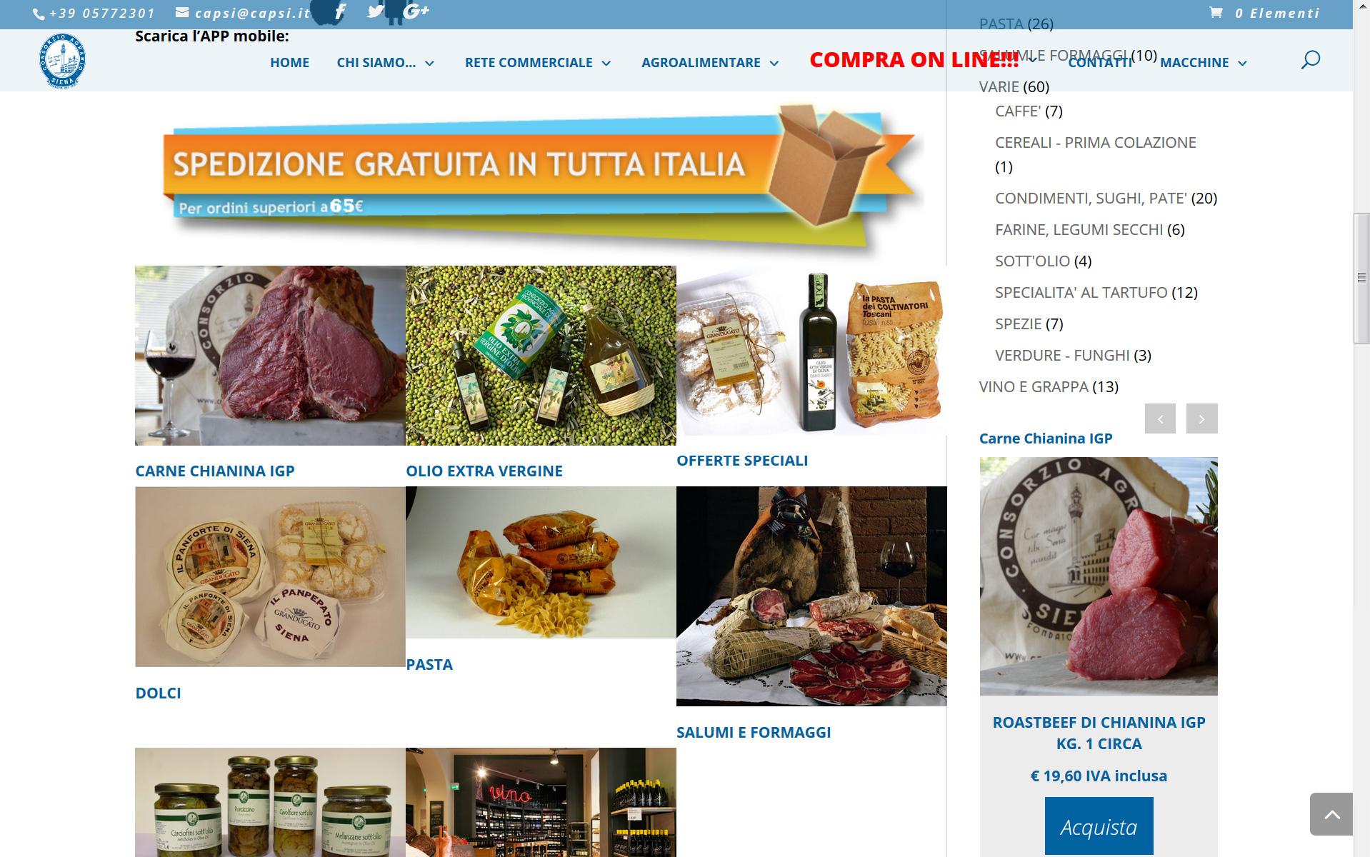 Vendita prodotti tipici della Toscana originari della provincia Senese