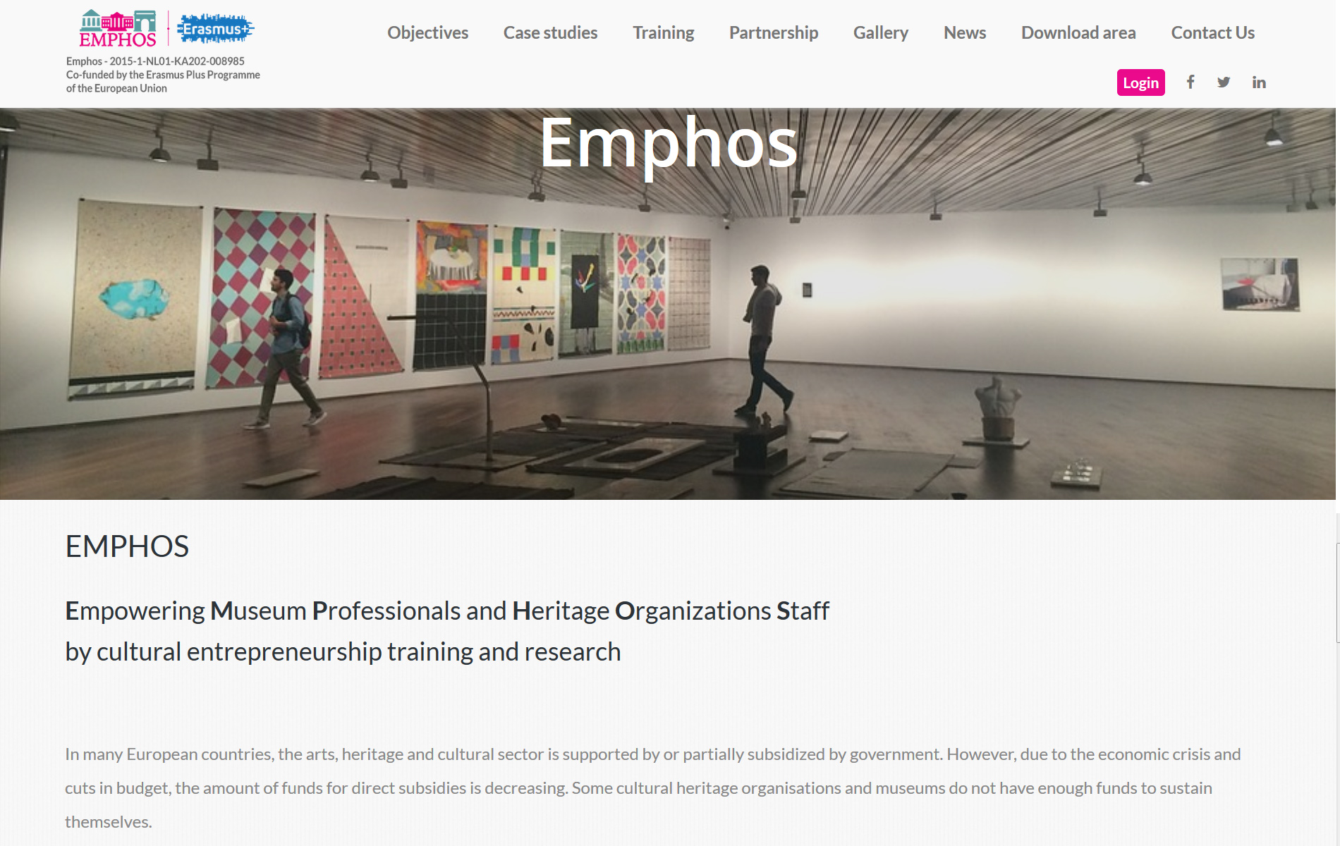 Emphosproject.eu – E-Learning-Europeo per sviluppare l'imprenditorialità della cultura